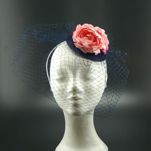 Dark Sea Svatební klobouk s francouzským závojem
