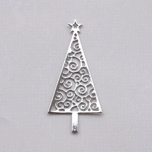 Vánoční stromeček filigránový (stříbrný lesklý)