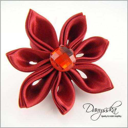 Saténová květina - brož/sponka do vlasů 212