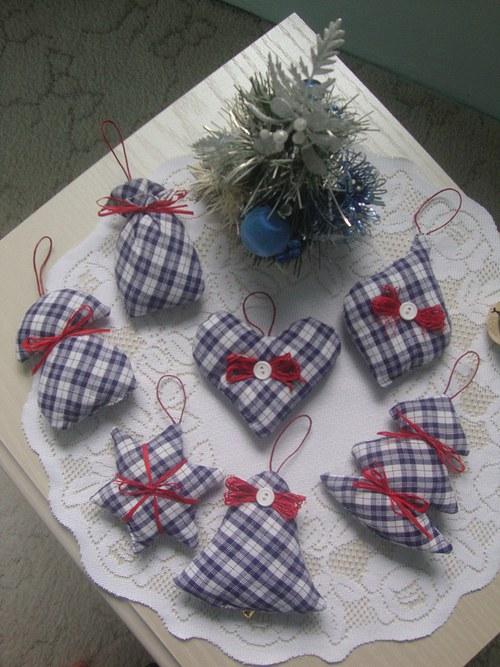 Vánoční ozdoby-modrobílé karo