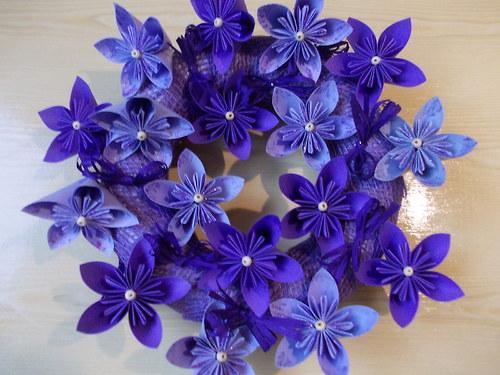 Kusudama věneček fialový