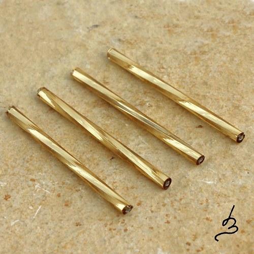 Skleněné tyčky 35 mm zlaté - 12 ks