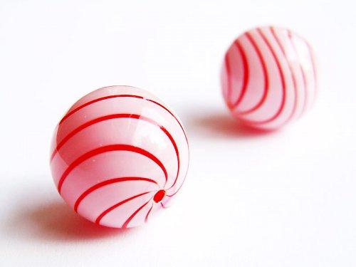 Bílá červeně pruhovaná kulička ((KOM140))