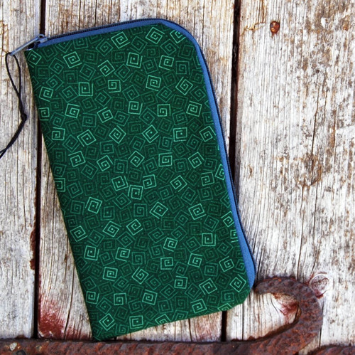 obal na mobil zipový základní- zelený