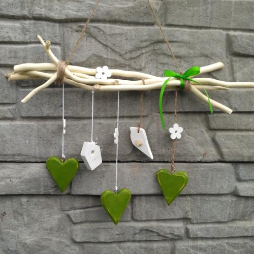 Závěsná dekorace - srdce zelená
