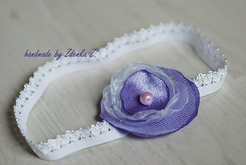 Fialovo - bílá čelenka