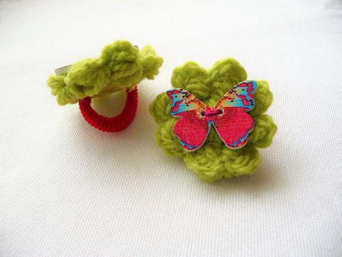 Gumičky s kytičkou a motýlkem
