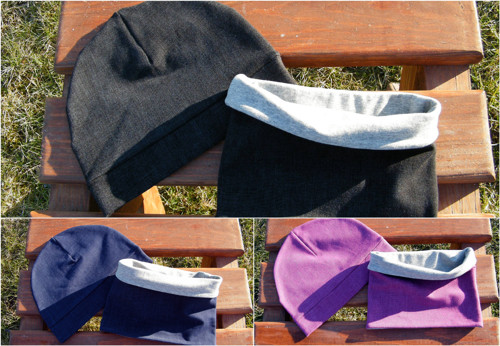 Set nákrčník + čepice,Jeans- fialový, modrý, černý