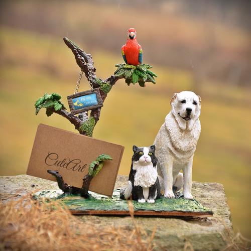 Stojan na vizitky - pes, kočka, papoušek