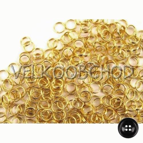 Dvojité kroužky pr.5 mm (50 ks) - zlato