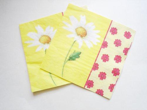 Žluté květiny, ubrousek. 2 kusy