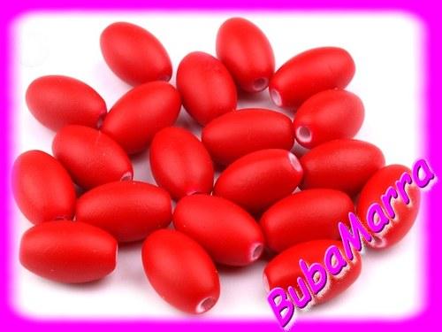 ~ 10ks ~ Korálky oválky 9x13mm ~ červená