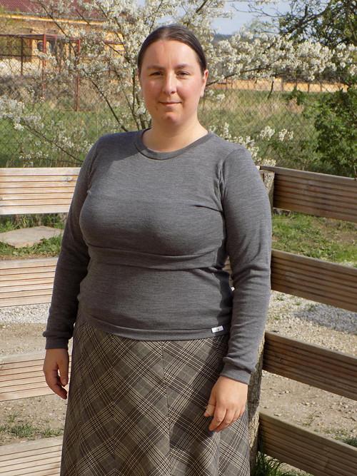Kojící tričko 100% merino vlna, šedé, XL