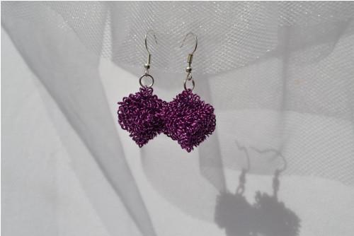 Drátěnky fialovorůžové - náušnice