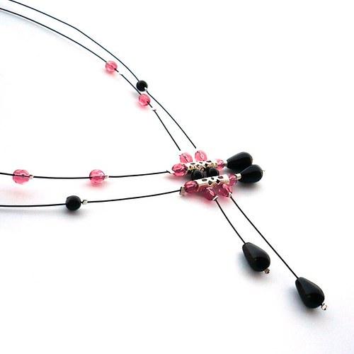 Černorůžový déšť - náhrdelník