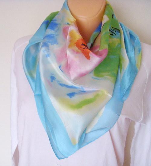 Velký hedvábný šátek----orchidej