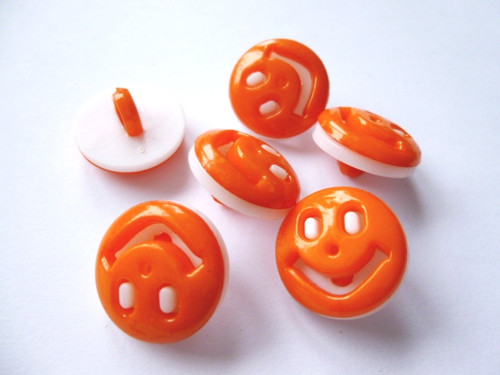 Knoflíčky smajlík oranžový 5 ks