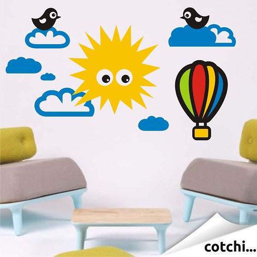 Samolepka na zeď - Sun and clouds - sada