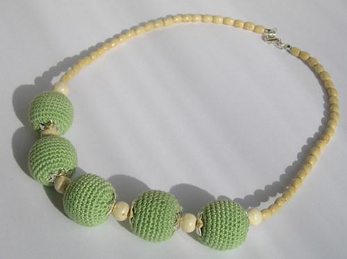 Náhrdelník zelené kouličky
