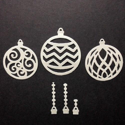 Vánoce - výseky stříbrné kulaté baňky (sada)