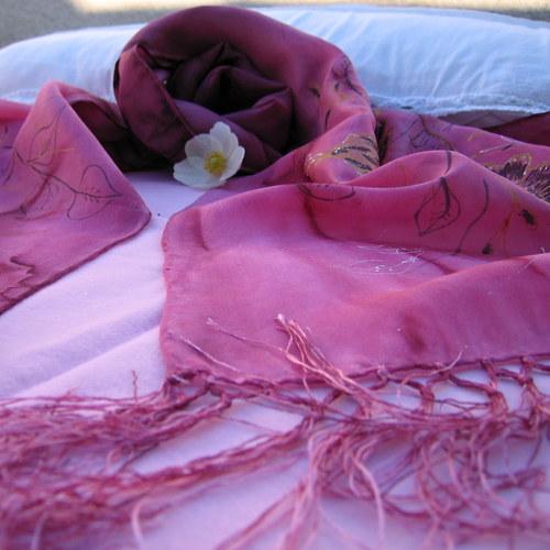 Růžová-hedvábná šála