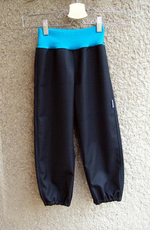 Softshellové kalhoty ČERNÉ+TYRKYS 92/98