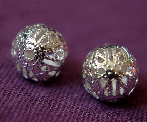 Filigránové kuličky 10mm stříbrné 5ks