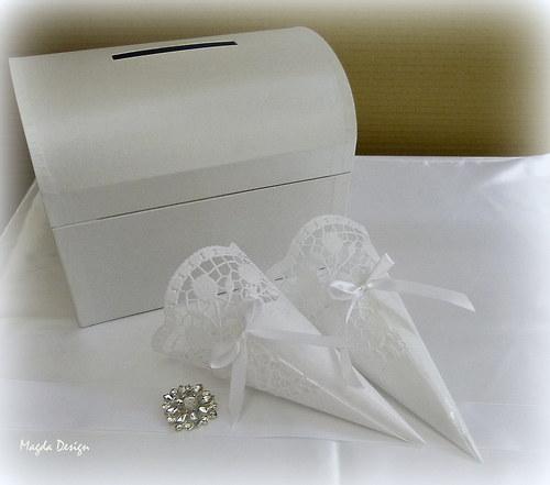 Svatební kornouty bílé