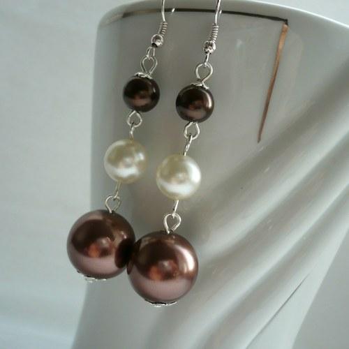 Hnědé perly - náušnice