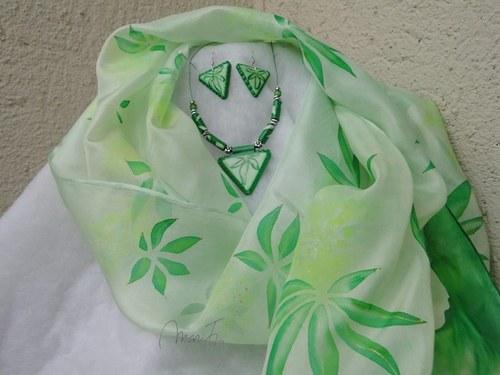Konopí Hedvábná šála + náušnice+náhrdelník