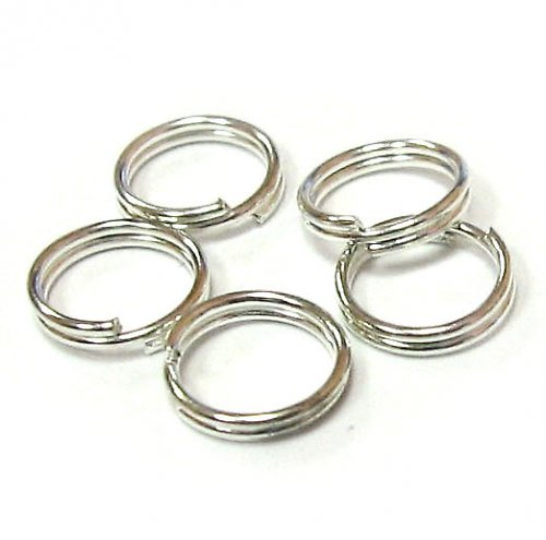 Kroužek dvojitý 7 mm - stříbrný - 10 ks