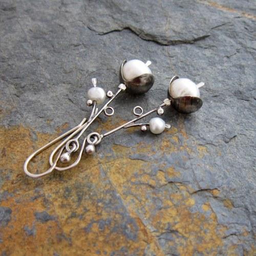 Calee - stříbro s perlou...