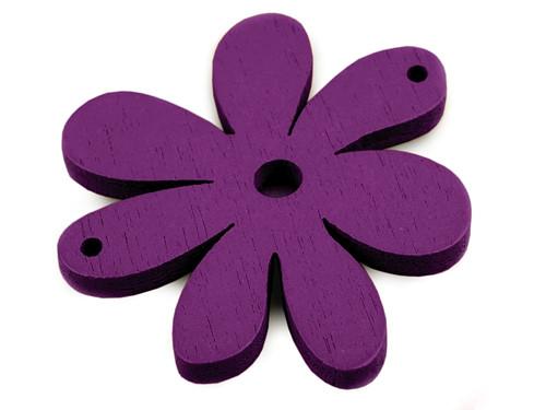 Dřevěný výsek 35x40mm květinka - tm. fialové (2ks)