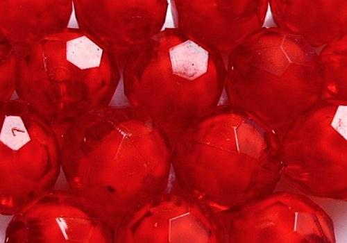 Plastové kuličky broušené 7 mm - červená / 10 ks