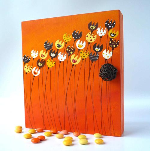 Sušák trpaslíků s alarmem - oranžový s kytkami