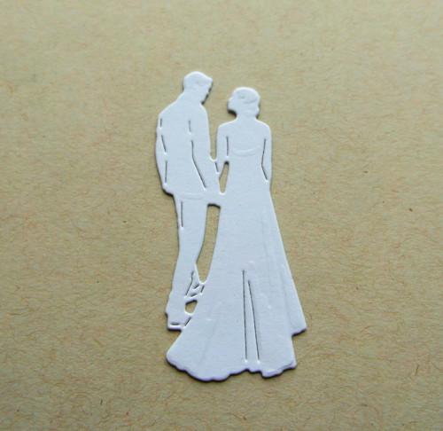 Papírový výsek - ženich s nevěstou
