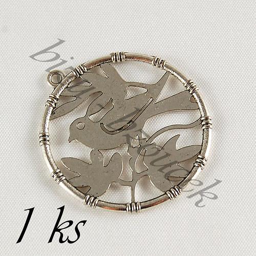 Stříbrný ptáček v kroužku, stříbrná barva - 1ks