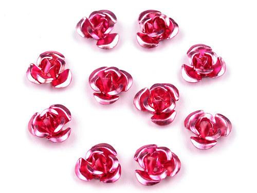 Růžička Ø10mm kovová růžová, 10ks