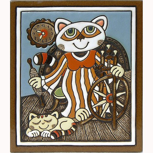 Keramický obrázek - Kočka a kolovrátek K-141-N-POM