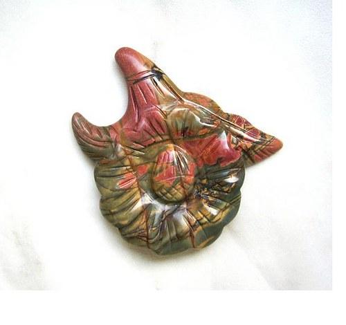 Jaspis picasso, vyřezávaný květ - 45 mm
