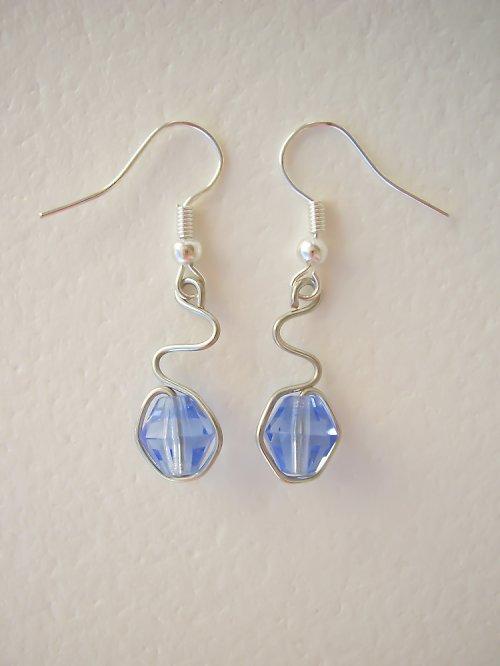 Modré stříbrné vlnění - náušnice