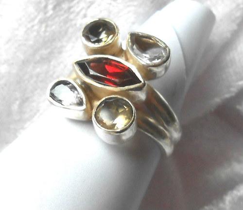 Stříbrný prsten - Granát ,Citrín, Ametyst