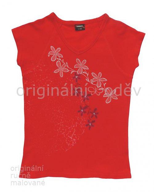 Malované tričko dámské - květy - červené