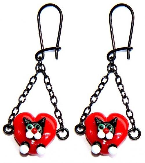 Valentýnské náušnice - srdce s černou kočkou