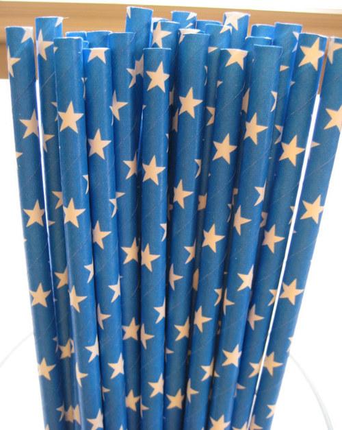 Papírová brčka /10 ks/: Blue with Stars