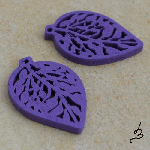 Dřevěný list fialový - 4 ks