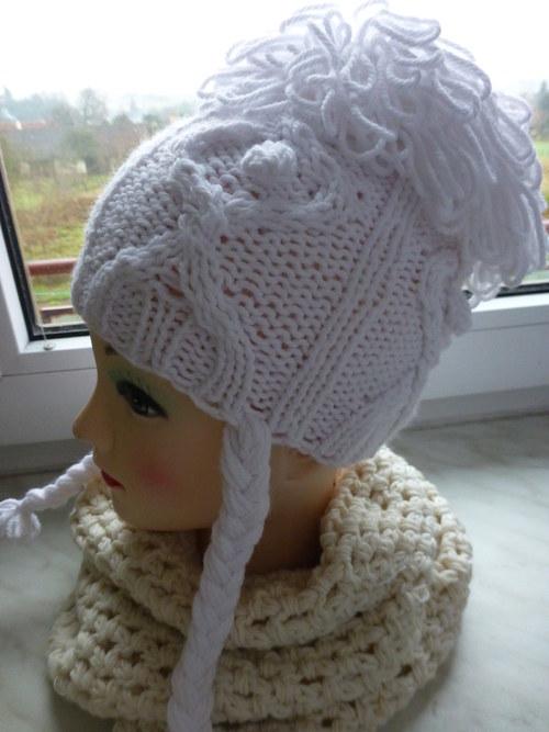 !SLEVA! Sněhobílá dívčí čepice