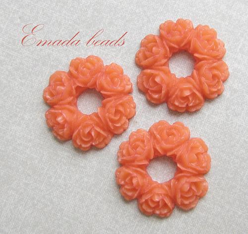 Resin věneček, kabošon oranžová 2,9 cm