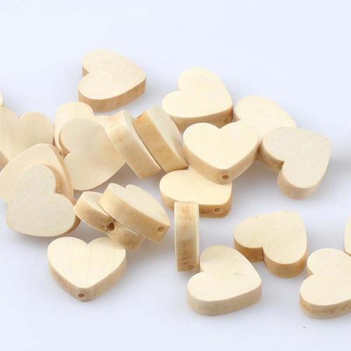 Dřevěné korálky srdíčko 19x14mm (5ks)