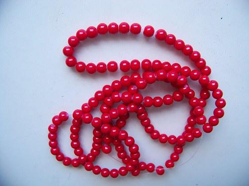 skleněné korálky LESK/ červená / 10mm/10ks